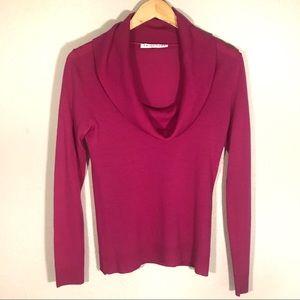 Trina Turk Fuchsia Cowl Neck Wool Long Sleeve
